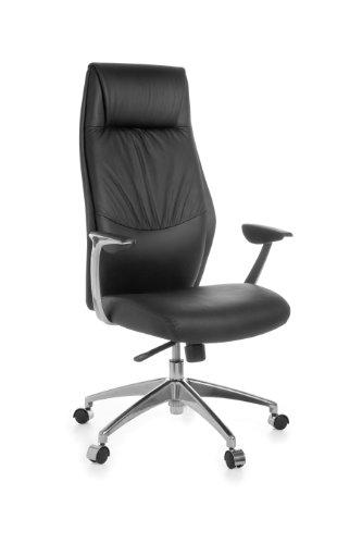 AMSTYLE Bürostuhl OXFORD 1 Echt-Leder Schwarz Design Schreibtischstuhl Armlehne Chefsessel höhenverstellbar 120KG Drehstuhl Synchronmechanik Drehsessel hohe Polster Rücken-Lehne Kopfstütze ergonomisch