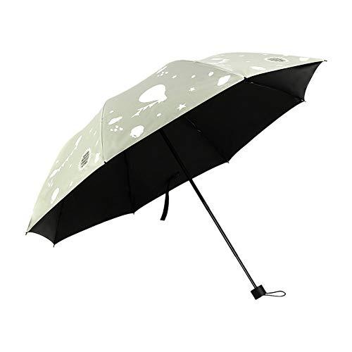 Deykhang Color Changing Three Folds Sunscreen Sunshine Umbrella Hot Air Blooming Droplet Rain Sun Parasol beige -