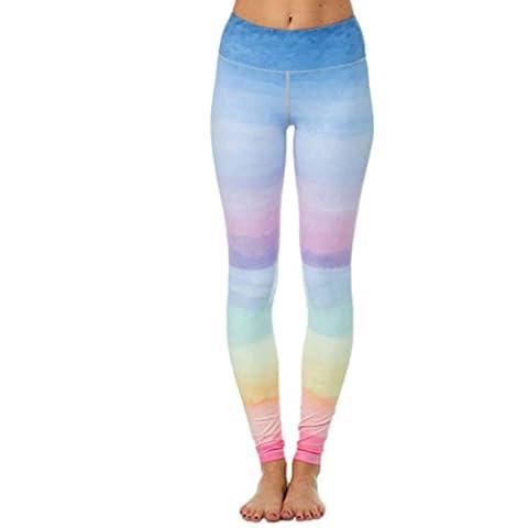 Damen Regenbogen Sport Leggings CICIYONER Gym Yoga Workout Fitness Lounge Hosen (Bunt, M)