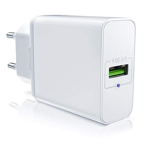 CSL - USB Ladegerät mit Schnellladefunktion | Netzteil mit Quick Charge 3.0 | Smart Charge + Solid Charge (intelligentes Laden) | geeignet für Handys, Smartphones, Tablets UVM. (Farbe-iphone-ladegerät -)