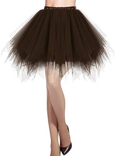 Dresstells Damen Tüllrock 50er Rockabilly Petticoat Tutu Unterrock Kurz Ballett Tanzkleid Ballkleid Abendkleid Gelegenheit Zubehör Brown - Damen Jazz Kostüm
