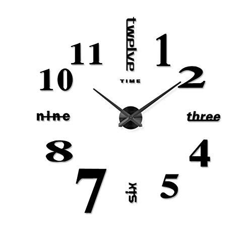 Wall clock Reloj de Pared Digital de 20 Pulgadas Reloj de Pared 3D salón Reloj de Pared DIY Reloj Etiqueta...