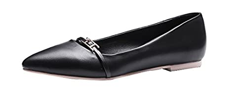 Verocara Women's Classic Pointed Toe Tie Ballet Slip On Flat Shoes Black Leather 7 UK