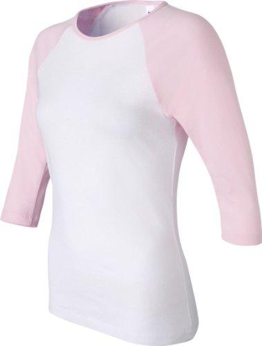 Bella :  Rib 11 3/4–manches Raglan T-Shirt 2000 blanc/rose