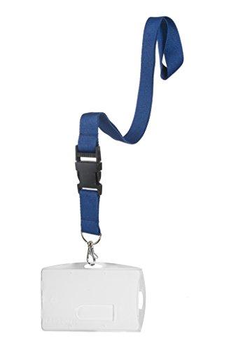 Karteo® Ausweishülle mit Schlüsselband blau | Kartenhalter aus Hartplastik | Lanyard Karabiner | für Ausweise Messen Dienstausweise Gesundheitskarten