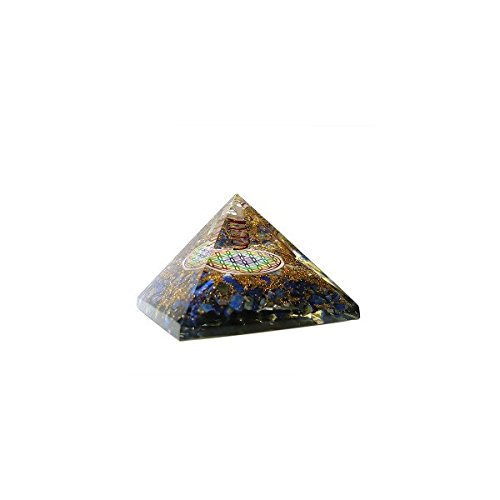 Orgonita en forma de Piramide con Flor de Vida y Ágata - Lapis Lazuri