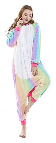 Pyjamas Licorne Kigurumi Combinaison Adultes Unisexe Onesie Animal Costume Pajamas Nuit Animation Vêtements Grenouillères (S(Hauteur:150-160cm), Rianbow Unicorn)