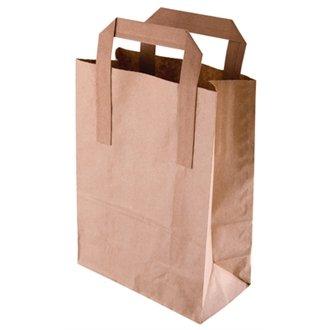 Take Away/café/cas Sac en Papier recyclé Marron Taille L (Lot de 250) simple jetables services de restauration, idéal pour une utilisation professionnelle ou Parties