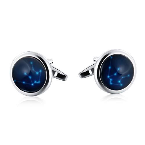 Aienid Manschettenknöpfe Edelstahl Ovaler Leuchtender Sternbildstein Silber Blau Manschettenknöpfe Für Männer