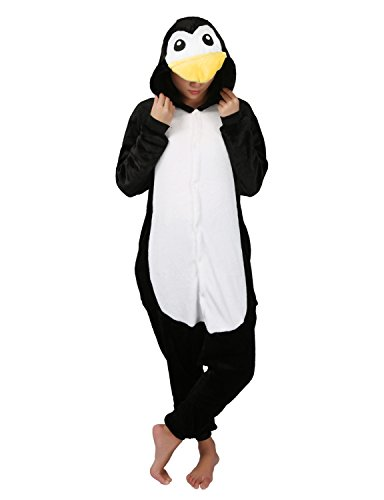 Tier Pyjamas Cosplay Kostüm -Karneval Schlafanzug Onesies Jumpsuit Erwachsene Unisex Kigurumi (Large, Schwarz-Pinguin)