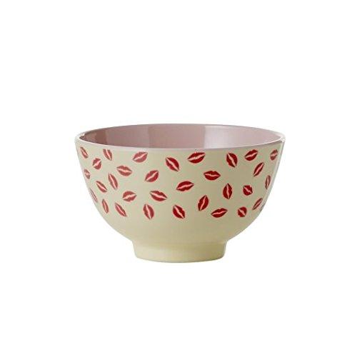 Kleine Melamin Schüssel mit Kiss Print rot, creme und Soft Pink von Rice DK -