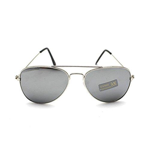 HuntGold Weinlese Frosch Augen Art Baby Kinder Jungen Mädchen UV400 Schutz Sonnenbrillen (silber)