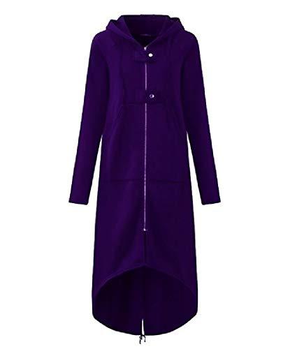 CuteRose Womens Maxi Hood Zip Up Below The Knee Asymmetric Hem Duffle Coat Purple 3XL (Double Breasted Pea Coat Dress)