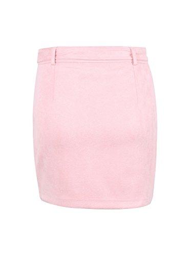Simplee Apparel Femme Mini Crayon Jupe Suédé Zippé Courte Motard avec Ceinture Streetwear Rose
