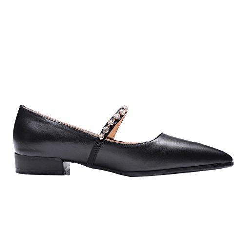 ENMAYER Femmes Mary Jane Bretelles en Cuir Ankle Strap Heel Office Lady Pumps Court Shoes Noir#238