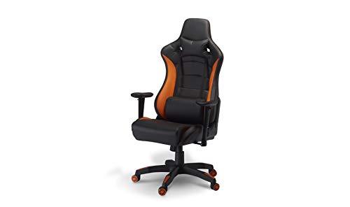 Furnhouse Ergonomisch Orange Kunstleder Gaming Stuhl/Schreibtischstuhl mit Armlehne, Höhenverstellbar, Drehstuhl, Belastbar 150kg, L68xB65xH128/136 cm