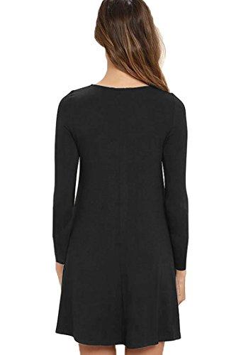 VIISHOW Frauen Langarm Casual Loose T-Shirt Kleid Schwarz