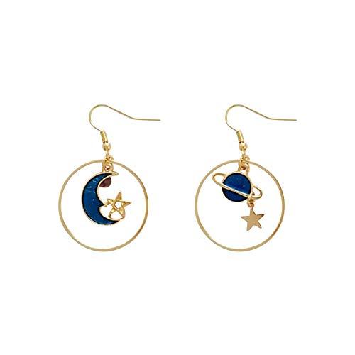 Ohrringe Gold Damen Mädchen Charme Mode Blauer Planeten Mond Anhänger Ohrhaken Weibliche Ohrstecker Ohringe Schmuck Party Kleidung Zubehör Geburtstags Geschenk für Frauen -