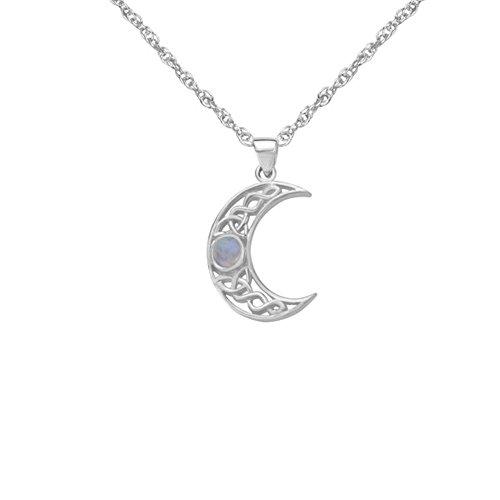 Knoten-Entwurfs-sichelförmiger Mond geformter Halsketten-Anhänger der Sterlingsilber-traditioneller keltischer Heiligen Dreifaltigkeit mit echten Moonstone - schließt 16