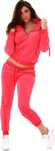 Jela London Damen Nicki Hausanzug Jogginganzug Velours Samt Jogginghose Freizeithose Kordel Tunnelzug Jacke, Neon Apricot 36 38 (M)