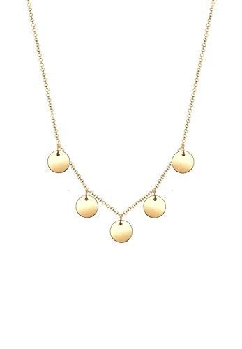 Elli Damen-Halskette mit Anhänger Kreis Geo Plättchen Minimal vergoldet silber 925 0101643117_45