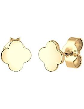 Elli Premium Damen-Ohrstecker Kleeblatt 585 Gelbgold 0308810516