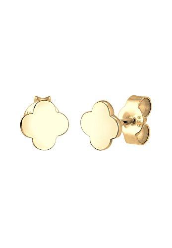 Elli PREMIUM Ohrringe Damen Ohrstecker Kleeblatt Glücksbringer in 585 Gelbgold Preisvergleich