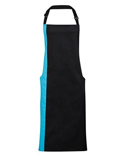 Premier Workwear PR162 Kontrast Zweifarbig Erwachsene Unisex Flache Vorderseite Lätzchen Schürze - Unisex, Schwarz/türkis, One Size (Latzschürze Volle)