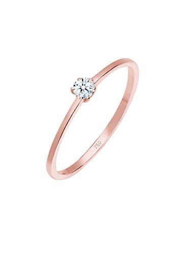 Diamore Damen Verlobungsring Solitär 750 Rosegold Diamant 0,10 ct.