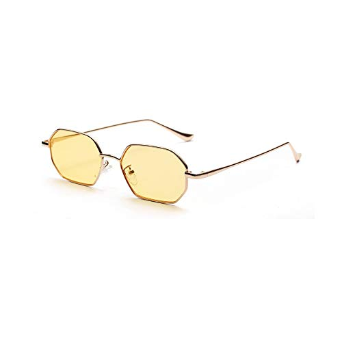 Sonnenbrille,Trend Frühling Sommer Stile Frauen Platz Sonnenbrillen Mode Men Metal Fram Brille Gelb
