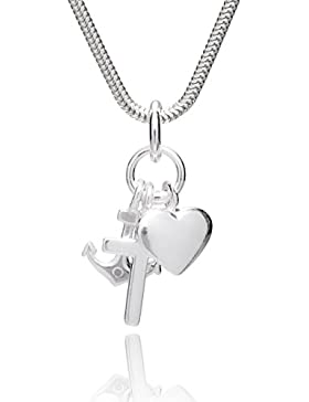 LillyMarie Damen Silber-Kette, Sterling-Silber 925, Glaube Liebe Hoffnung-Anhänger, mit Schmuckbox