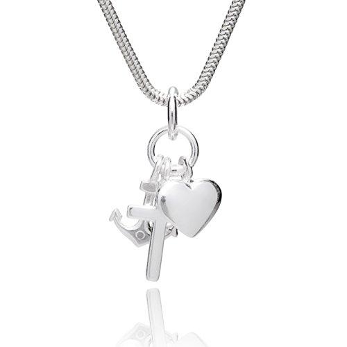 s-Silberkette Sterling-Silber 925 Glaube Liebe Hoffnung Anhänger Längen-verstellbar Geschenkbox Geschenke Beste Freundin Geburtstag ()