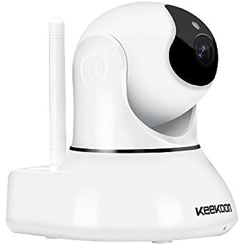 Keekoon IP Cámara de Vigilancia [Smart Conexión Wifi / Visión Nocturna / Solución 720P H.264] Inalámbrica Rotación 345 Grados Detección de movimiento Comunicación de Audio Android / Iphone / Ipad / Ipod operable japonés con instrucciones de la tableta / PC (Blanco)
