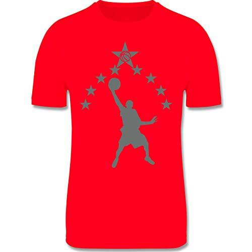 Sport Kind - Basketball Sterne - 128 (7-8 Jahre) - Rot - F350K - atmungsaktives Laufshirt/Funktionsshirt für Mädchen und Jungen -