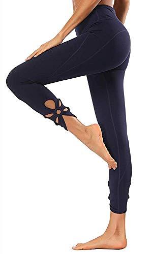 Yavero Sporthose Damen High Waist Blinkdicht Sport Leggings Elastische Tummy Control Yogahose Lange Laufhose mit Taschen,Stil: Dunkelblau-2 S