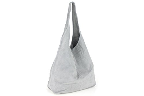 Borse a Spalla Donna Monique Big Bag in Vera Pelle, Made in Italy Grigio