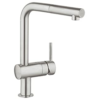 GROHE Minta kitchen tap with pull out spray head, high spout single-lever sink mixer, 360° swivel spout, easy installation, matt stainless steel, 32168DC0