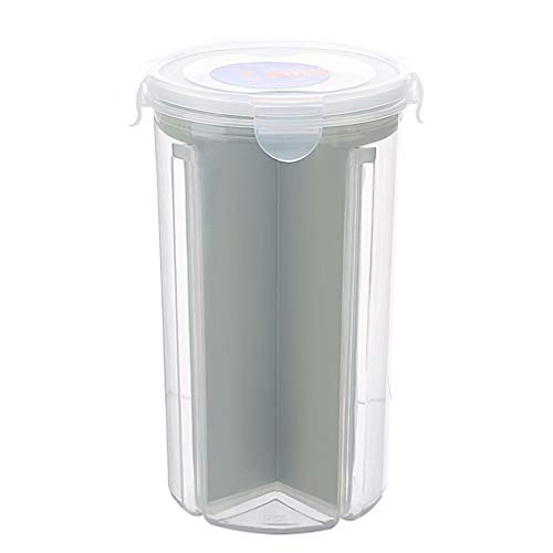 fish Compartment Food Storage Container PP Clear Cereal Kitchen Organizer Airtight Rotating Lid Snacks Storage Box Keeper Container