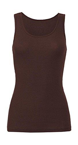 Trägershirt '2x1 Rib Tank Top', Farbe:Chocolate;Größe:M M,Chocolate (Top Rib Tank Baumwolle 2x1)