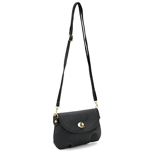 Ladies mini small handbag crossbody shoulder messenger bag, black