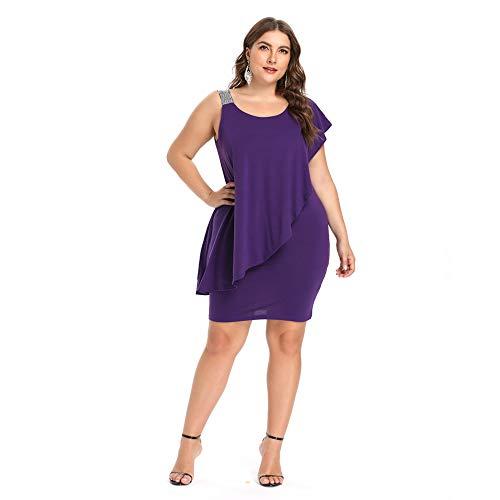 Sexy Kleider Frauen Bodycon Abendkleid Asymmetrische Plus Size One Shoulder Sleeveless Formal Frühling Sommer (Plus Size One-shoulder-kleid)