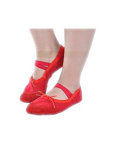 Moderne Mode Sandalen Kids Mädchen Leinwand Ballett Schuhe mit flachem Absatz Split Sole Ballet Slipper Schuhe in Schwarz/Pink/Rot/Weiß Pink