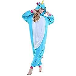 Pigiama o Costume di Carnevale Halloween Pigiama Cosplay Party Onepiece Intero Animali Unicorno Regalo di Compleanno Per Adulti Adolescenziale Ragazzi (M(155-168cm), Blu)
