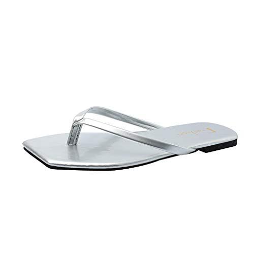 Eaylis Damen Sandalen Einfacher, Quadratischer Kopfaufdruck 35-58 Sommer Strand Schuhe Hausschuhe Stilvoll und elegant