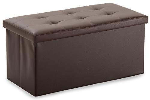 XMAF Sitzbank Lagerstuhl mit 80 L Stauraum Lagerbar Faltbar Kreativer Speicher-Schemel für 2-Sitzer Kunstleder Braun XMF011002-1