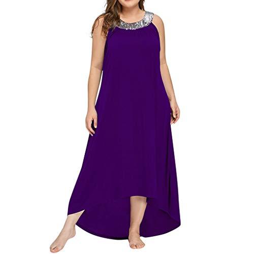 LOPILY Damen Kleider Damen Sommer Casual Seitenschlitz Übergröße Maxikleid Partykleid Einfarbig Einfach Bequem Freizeit Sommerkleider Plus Size Hemdkleid(Beige,EU-48/CN-4XL)