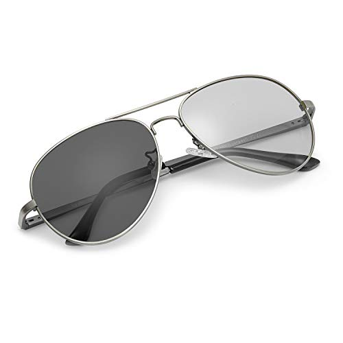 Myiaur Photochromatisch Sonnenbrille Herren Polarisiert für 100% UVA UVB Schutz Metall rahmen Leicht (Grau)