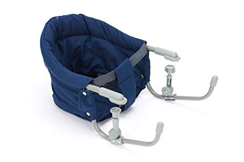 Fillikid Tischsitz Exclusiv | Faltbarer Babysitz für zuhause und unterwegs | Stuhlsitz mit klappbarer Schraubfixierung | Belastbar bis 15 kg, Design:blau/melange