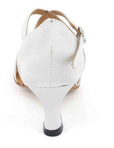 ShangYi Chaussures de danse(Noir / Bleu / Rouge / Blanc / Autre) -Personnalisables-Talon Personnalisé-Similicuir-Latine White