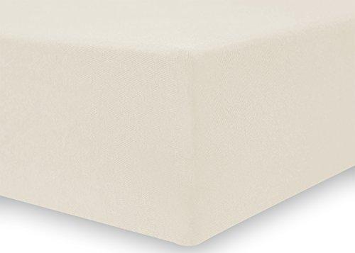 DecoKing 18668 80x200-90x200 cm Spannbettlaken Ecru 100% Baumwolle Jersey Boxspringbett Spannbetttuch Bettlaken Betttuch Ivory Nephrite Collection - 4
